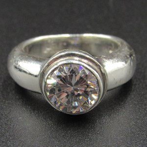 Size 4.75 Sterling Silver Heavy CZ Diamond Ring
